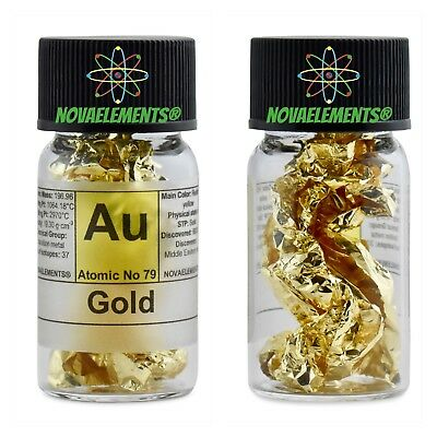 Gold metal 99,99% (24K) element 79 Au foil in fulfilled and labeled glass vial
