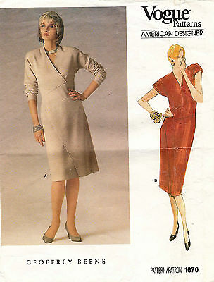 1980's VTG VOGUE Misses' Dress by Geoffrey Beene Pattern 1670 Size 10 UNCUT