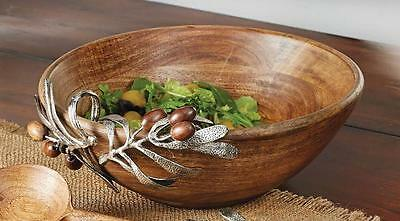 Mud Pie Olive Collection Wood Metal Salad Serving Bowl 4601027 Home Table Decor