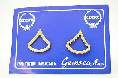 Police Private 1st Class PFC Chevron Brass Gold Pair Collar Pins Rank Insignia
