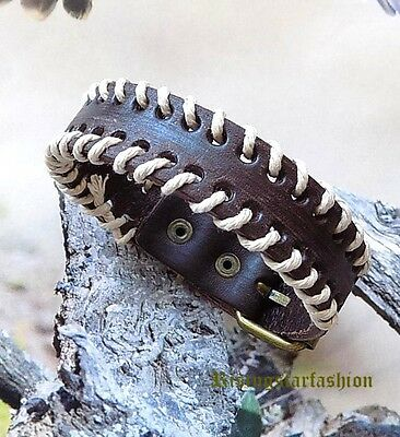 Men Trendy Hemp Braided Motorcycle Rider Surfer Hip Character Leather Bracelet