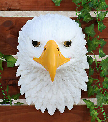 Large American Bald Eagle Wall Mount Bust Sculpture Plaque Patriotic Figurine