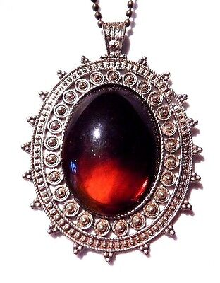 DARK FAUX AMBER NECKLACE gold/bronze ornate bezel large cabochon pendant NEW Z5
