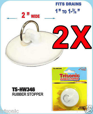 "Lot Of 2 Rubber Stopper Drain Bathtub Kitchen Sink Plumb Fits 1"" To 1-3/8"""