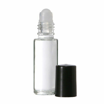 5ml Roll on Bottles Plain Clear Glass with Housing Roller Ball & Black Cap