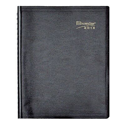 Brownline Daily Planner Twin-Wire Binding with Soft Lizard-Like Cover 11-Inch...
