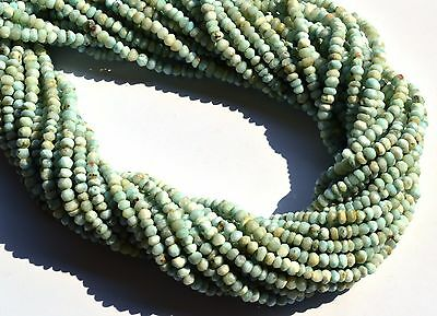 """Natural Gemstone Larimar Rare Micro Faceted 3MM Size Rondelle Beads 13"""" Strand"""
