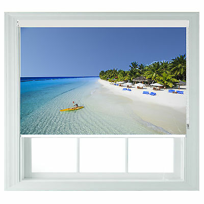 Beach Scenic Sea Seaview childrens Themed Blackout Roller Blind Made To Measure