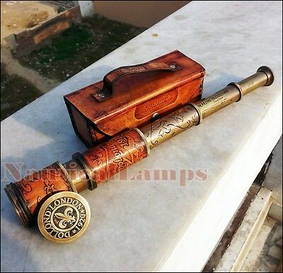 Antique Brass Telescope Marine Nautical Leather Pirate Spyglass Vintage Scope