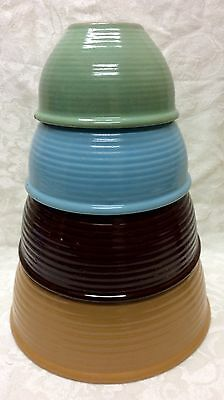 Monmouth Pottery, Western S. W. Pottery, 4-pc Nesting Mixing Bowls