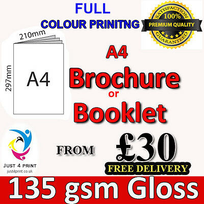 A4 Stapled Brochures, Booklet Printing 135 GSM GLOSS Premium Quality With Cover