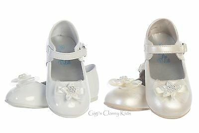 New Baby Toddler Girls White Ivory Dress Shoes Kids Mary Jane Flats Baptism