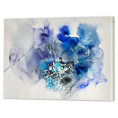 Blue Abstract Ink Blot Canvas Art Print   Framed Ready to Hang Cloud Wall Prints