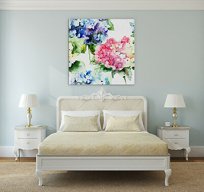 Watercolour Flowers Canvas Wall Art Print Framed Ready Hang Pink Floral Prints