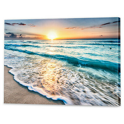 Beach Sunset Canvas Art Print | Framed Ready to Hang Sunrise Water Wall Prints
