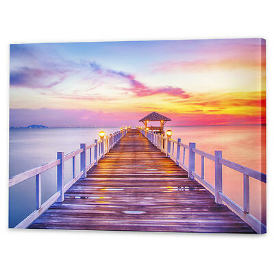 Beach Sunset Canvas Art Print | Framed Ready to Hang Sunrise Jetty Wharf Coastal