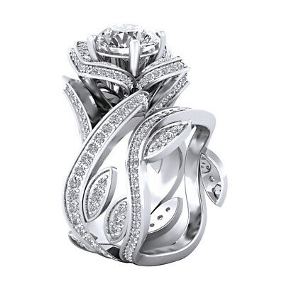 3.60 Ct White Round Cut Engagement Wedding Bridal Ring Set 925 Sterling Silver