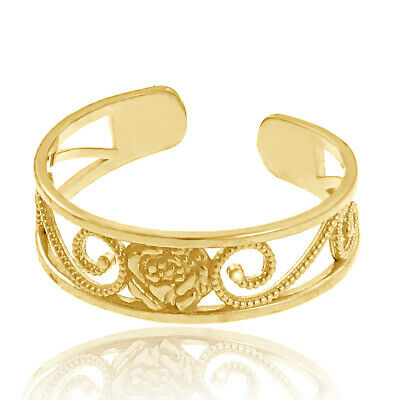 Rose Toe Ring Solid Yellow Gold 10K