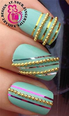 20cm GOLD BEAD CHAIN NAIL ART STUD LINE STRIPS DECAL DECORATIONS ALLOYS SET #543