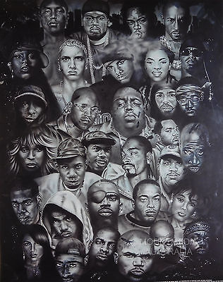 HIPHOP HEROS POSTER (50x40cm) FACES EMINEM NEW LICENSED ART