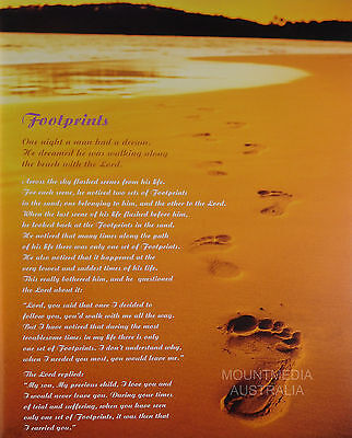 FOOTPRINTS IN THE SAND POSTER (50x40cm) QUOTE NEW LICENSED ART