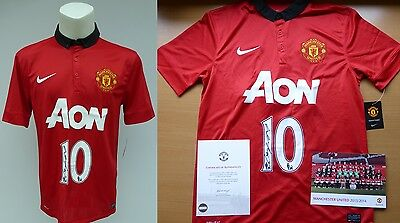 2013-14 Wayne Rooney Signed Man Utd Shirt Official COA (4715)