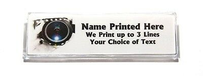 Camera Lens Custom Name Tag Badge ID Pin Magnet for Photographers Photography