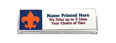 Fleur de Lis Orange Blue Custom Name Tag Badge ID Pin Magnet for Tiger Scouts