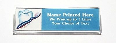 Tooth and Brush Custom Name Tag Badge ID Pin Magnet for Dentist Hygienist Dental