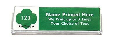 Trefoil Green Custom Name Tag Badge ID Pin Magnet for Girl Scouts Junior Leader