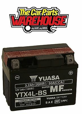 YTX4L-BS Genuine Yuasa Motorcycle ATV Quad Buggy Battery  Includes Acid Pack