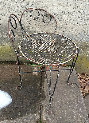 Fabulous All Metal Vanity Chair Twisted Wire Feetchippy Shabby Garden Setting