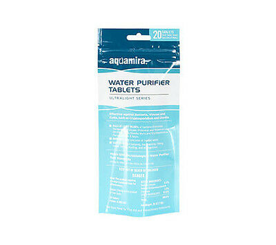 Aquamira Chlorine Water Purifier Tablet 20 pack EPA Approved Treatment