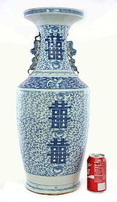 Large Late 19C Chinese Porcelain Blue & White Happiness Chirography Vase 60.5 cm
