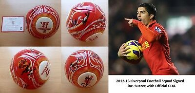 2012-13 Liverpool Warrior Football Signed by Squad Official COA (7072)