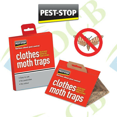 Pest Stop CLOTHES MOTH TRAPS 2 Pack NO ODOUR Wardrobe Sticky Catcher Easy To Use