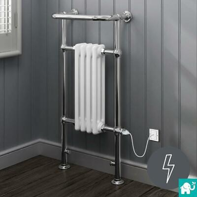 Chrome & White Traditional Victorian Electric Towel Rail Radiator
