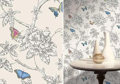 Holden Decor White Butterfly Theme Leaf Floral Design Feature Washable Wallpaper