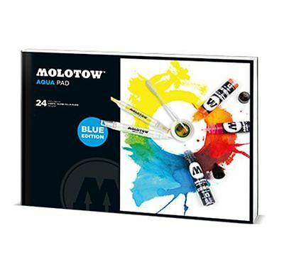 Molotow Aqua Pad - 24 Sheets Of Water Colour Paper - Blue Edition - Small