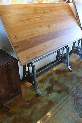 "63"" L Industrial old design crank drafting table iron base old teak polished top"