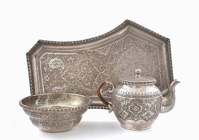 Old Persian Islamic Sterling Silver Tea Set Teapot Cup Tray Plate Marked