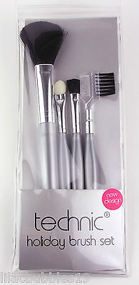Technic Cosmetic Brush Set 4-Piece Powder/eye/brow Brushes & Pouch Holiday New