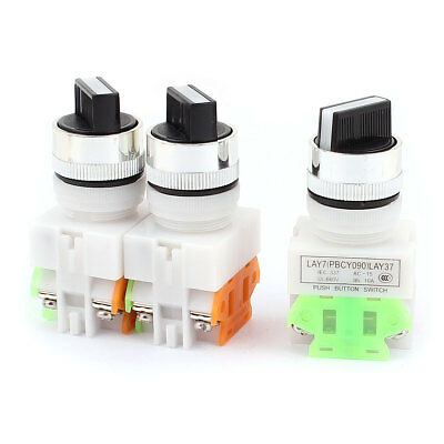 AC 660V 10A NO/NC DPST 2 Position Latching Selector Rotary Switch 3PCS