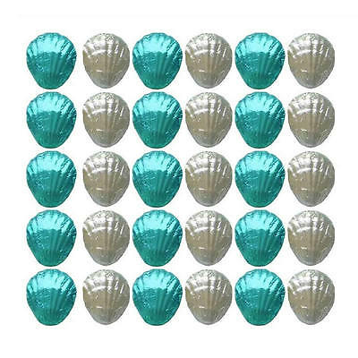 40 Aqua Blue And Silver Milk Chocolate Shells - Beach Wedding Favours Parties