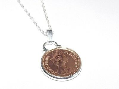 41st Birthday 1976 half pence Coin Pendant & 18 inch Sterling Silver Chain gift