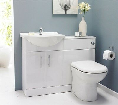 Luxury White Bathroom Vanity Cabinet Unit, BTW Back To Wall WC Toilet Furniture