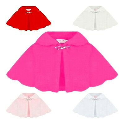 Girls Faux Fur Shoulder Cape Bridesmaid Tippet Bolero Wrap Stole Shrug 0-12 Yr