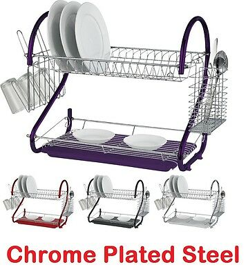 2 Tier Layer Dish Drainer Utensil Tumbler Holder Spoon Rack Modern Chrome
