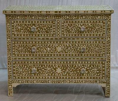 Chest of Drawers (4 Drawer) in Olive Green inlaid with Hand Carved Bone