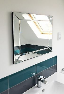 Large Single Edge Venetian Modern Bathroom Wall Mirror 2Ft2 X 1Ft10 66 X 56cm